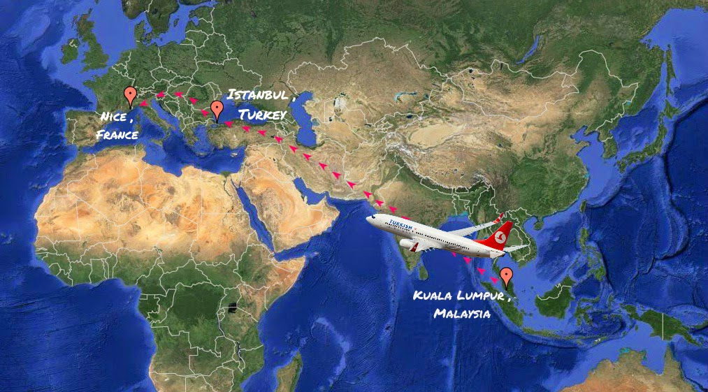 This will be my flight plan. A straight line from Asia to Europe and back.