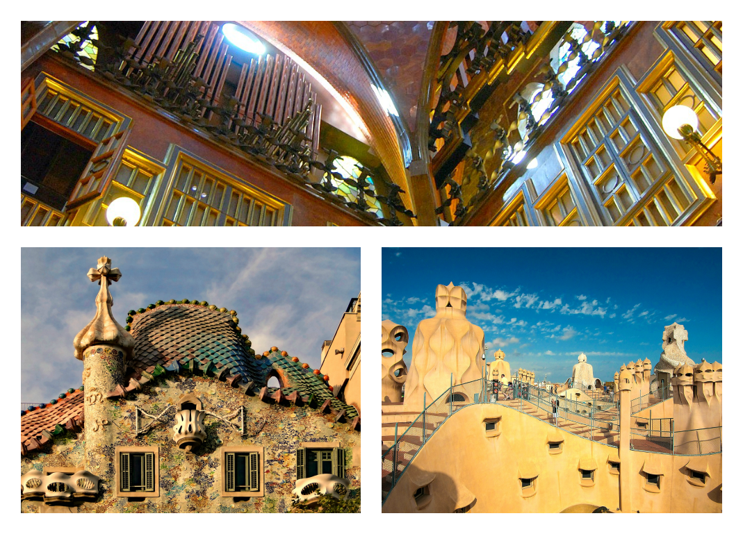 The interior of the Güell Palace (above). Casa Batlló's scaly rooftop and accessible staircase of Casa Milà