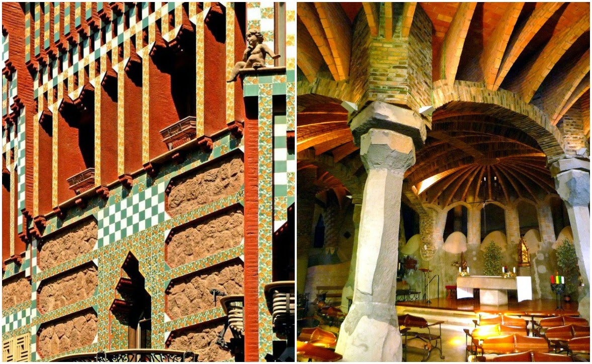 Above: The famous Park Güell. Below: The multi-colored tiles of Casa Vicens and Gaudi's crypt, a magnificent church chamber.