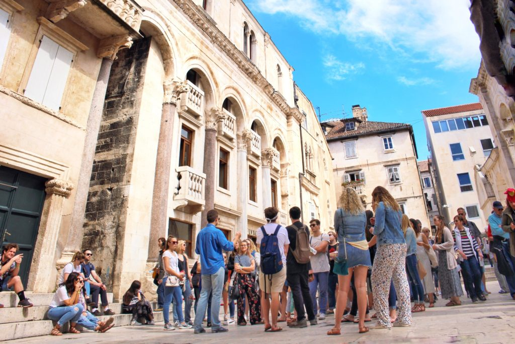 Tourists Visiting the old town of Split