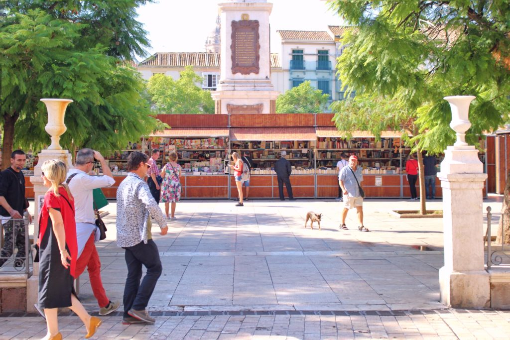The pedestrian square in the old town of Malaga