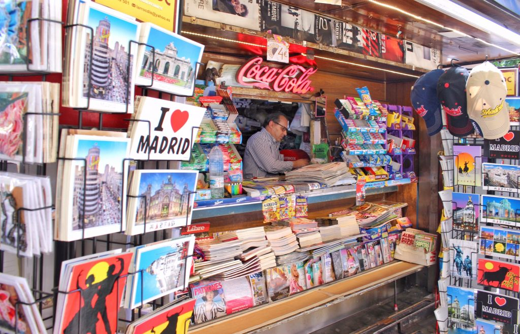 A kiosk full of postcards and souvenirs