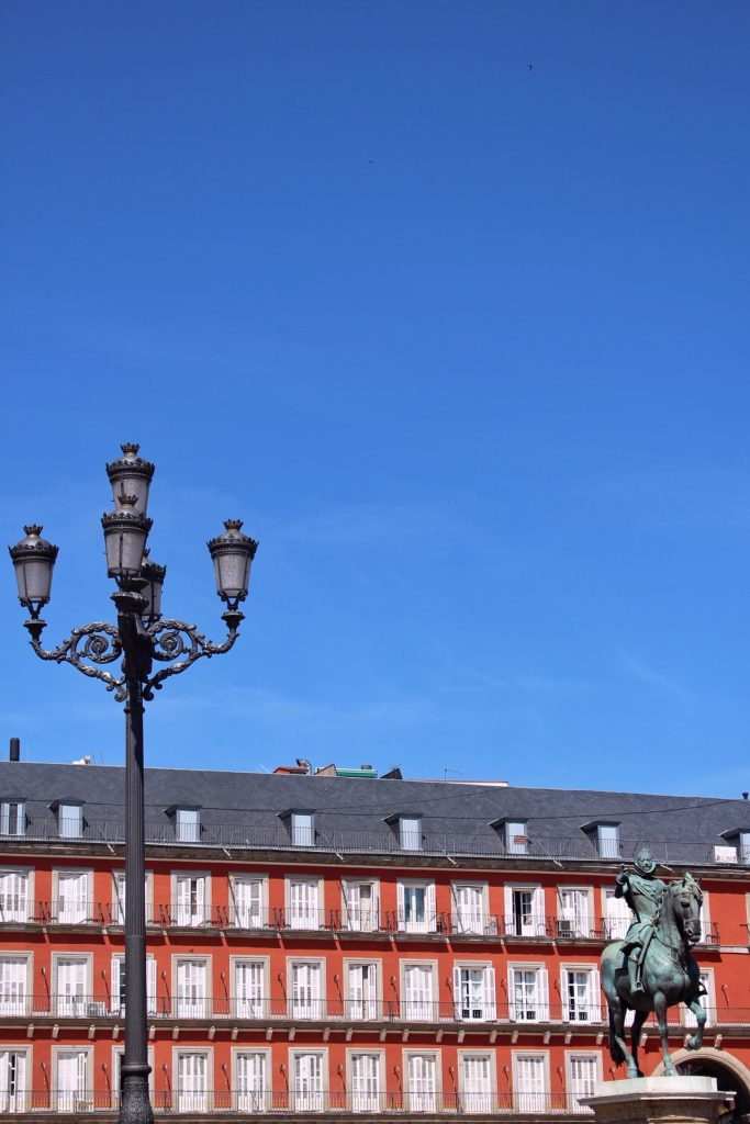 Buildings festooned on Plaza Mayor