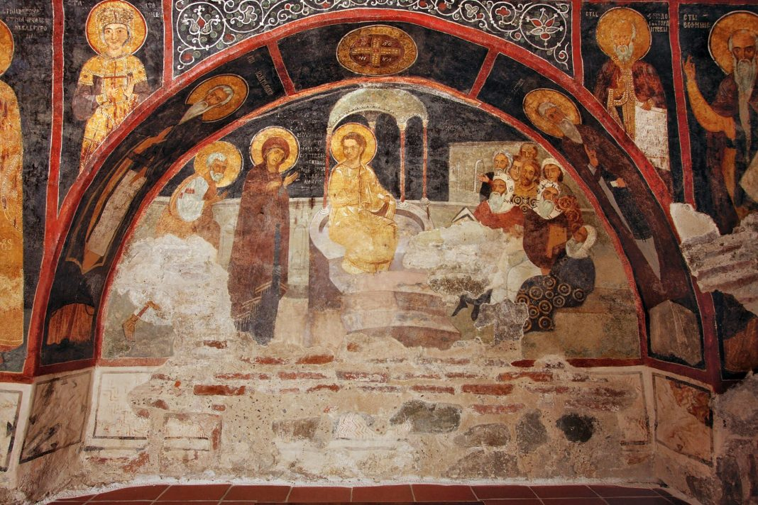 medieval frescoes on the wall
